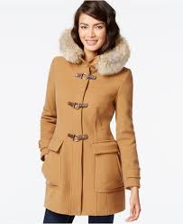 trina turk coyote fur trim buckled duffle coat in natural lyst