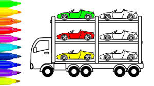 learn colors with car coloring pages for kids auto transport