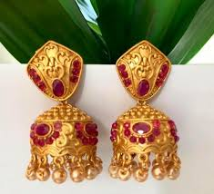 antique gold jhumka earrings antique gold plated jhumka earring with pearl
