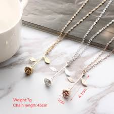 gold flower pendant necklace images 1 pcs delicate rose flower pendant necklace charm gold silver jpg