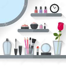 Home Interior Vector by Home Dressing Table Interior Vector Illustration Make Up Flat