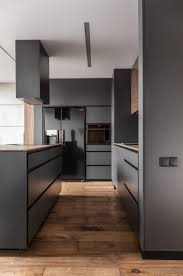 Modern Black Kitchen Cabinets Apartment A Matte Black Kitchen Cabinets And Countertop Near