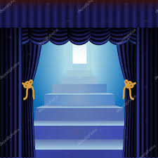 Blue Curtains Blue Curtains With Staircase U2014 Stock Vector Debrus 9420370