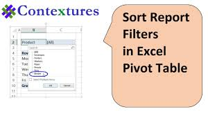 how to sort a pivot table sort pivot table report filters in alphabetical order youtube