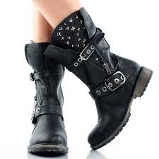 buy womens biker boots black spike studded punk biker motorcycle women flat mid calf