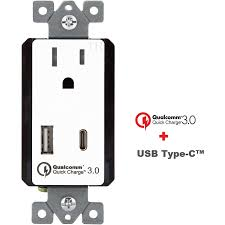 quick charge type c usb dual in wall charger outlet topgreener