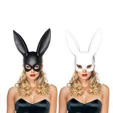 white halloween mask cosplay costume party pp rabbit ears mask black white halloween