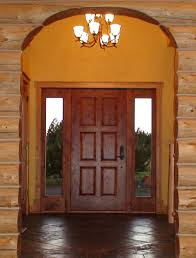 Wooden Interior Door Design Antique Black Metal And White Bedding Beside