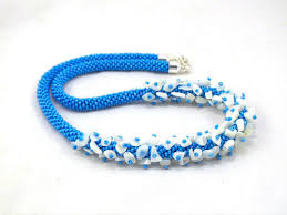 bead rope necklace images Blue bead rope necklace with white shell bib statement necklace jpg