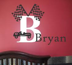 Best Wall Decals For Nursery by Racing Car Game Set Custom Boys Name With Two Flags Cool Wall