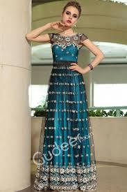 length peacock blue evening formal dress with black sheer net