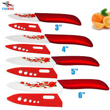 high quality ceramic knife set with red flower design and covers