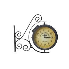 moonrays outdoor metal black led wall clock with thermometer 95005