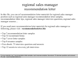 Sample Resume For Regional Sales Manager by Regional Sales Manager Recommendation Letter