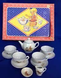 bunny tea set vtg 1950s child s china tea set rabbit hedgehog 12 complete