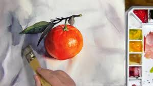 watercolor painting of a mandarin orange with leaves youtube