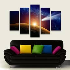 canvas painting for home decoration 2017 5 panel painting outer space moon painting canvas art prints