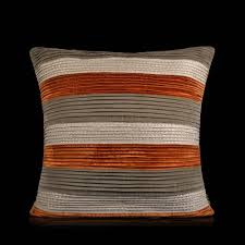 buy nimes orange grey pleated texture cotton velvet cushion online