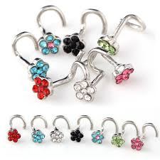 aliexpress nose rings images 30pcs crystal rhinestone nose ring flower nose stud surgical steel jpg