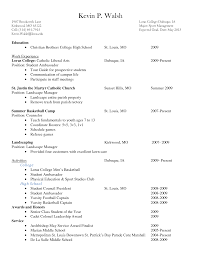 Sample Resume Objectives For Landscaping by Resume Resume Samples For College Students