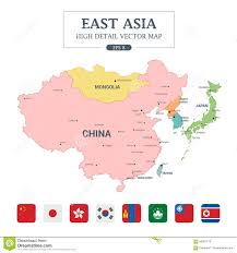 Asia Map by East Asia Map Full Color High Detail Separated All Countries Stock