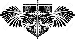 symbol of protection sword with wings and shield royalty free