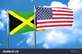 Jamaican Flag Day Jamaica Flag American Flag 3d Rendering Stock Illustration