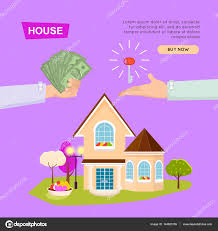 buying house online property selling web banner u2014 stock vector
