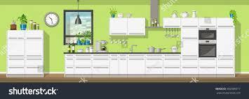 modern kitchen equipment illustration interior equipment modern kitchen panorama stock