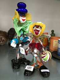 two murano style glass clown ornaments