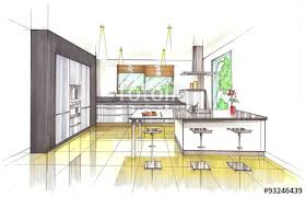 croquis perspective cuisine contemporaine stock photo and royalty