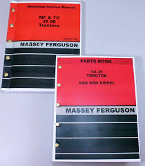 lot massey ferguson to 35 tractor parts book service repair shop