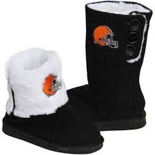 jcpenney nfl fan shop cleveland browns women s knit high end button boot slippers black