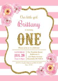 Baby First Birthday Invitation Card Pink And Gold First Birthday Invitation Photo Invite Baby