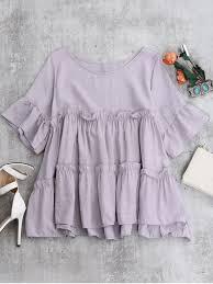 blouse ruffles ruffles smock blouse light purple blouses one size zaful