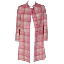 light pink wool coat 1966 george halley couture pink and ivory white plaid wool tailored