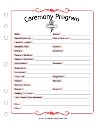 downloadable wedding planner use this printable ceremony program as a template to list the
