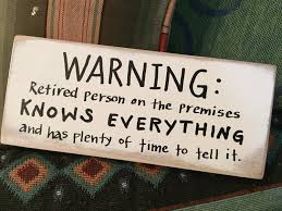 warning retired person on premises wooden sign retirement gift