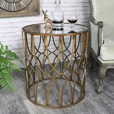 gold metal side table antique gold round metal side table with mirrored top vintage chic