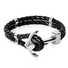 gold clasp leather bracelet images Jiayiqi punk engraved dragon silver gold anchor clasp black braid jpg