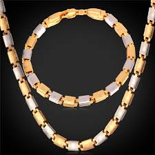 chain set necklace bracelet images Collare trendy two tone jewelry sets for women gold silver color jpg