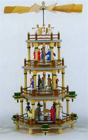 four tier colored nativity german pyramid