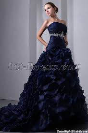 navy blue wedding dress special navy blue organza ruffled bridal gown 2014 corset 1st