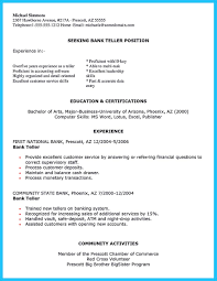 Examples Of Banking Resumes Learning To Write From A Concise Bank Teller Resume Sample