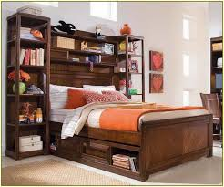 Bookcase Lamps Furniture Home Queen Storage Bed With Bookcase Headboard And