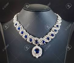 sapphire necklace with diamonds images Diamonds with dark blue sapphire necklace on the black background jpg