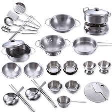 ustensiles de cuisine enfant 40 pcs en acier inoxydable enfants maison cuisine jouet cuisine
