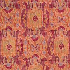 contemporary orange ikat upholstery fabric large scale woven