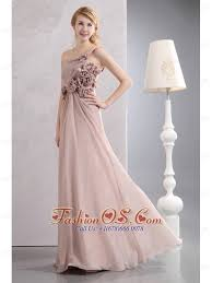 unique light pink empire prom dress one shoulder hand made flowers
