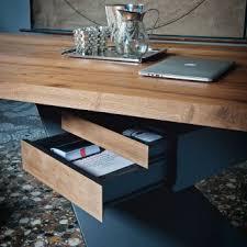 bureau en bois design design en bois de chêne avec 2 tiroirs madrid 215 cm